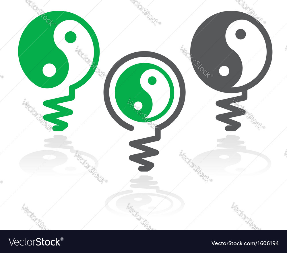 Ying yang light bulb symbol vector | Price: 1 Credit (USD $1)