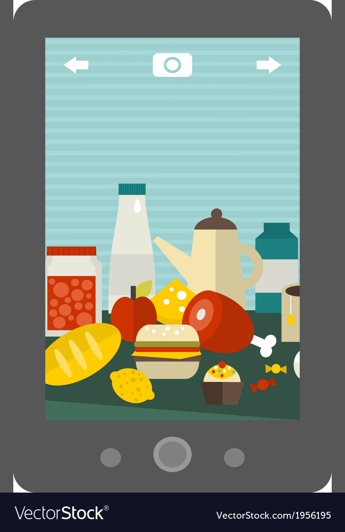 A lot of different food on the table vector | Price: 1 Credit (USD $1)