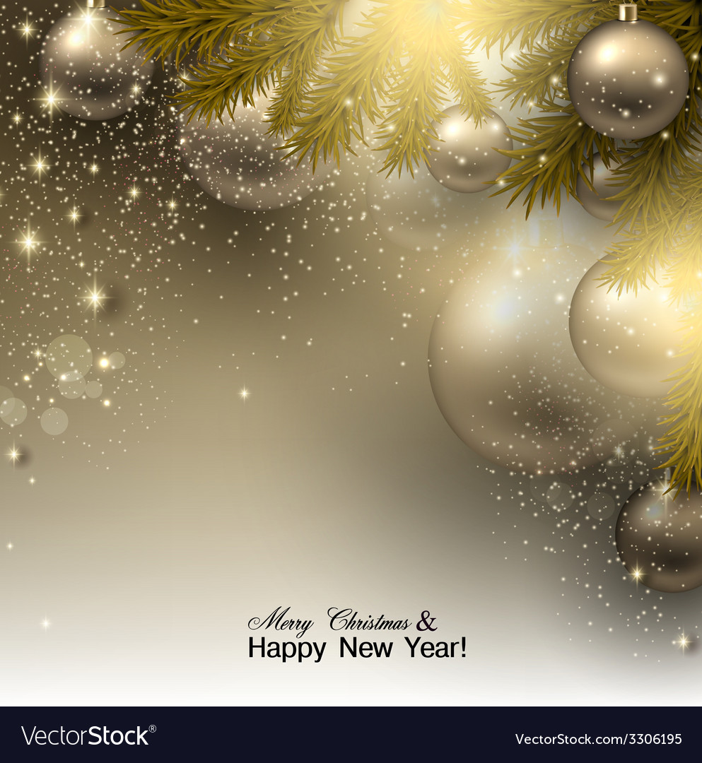 Christmas background with balls golden xmas vector | Price: 3 Credit (USD $3)