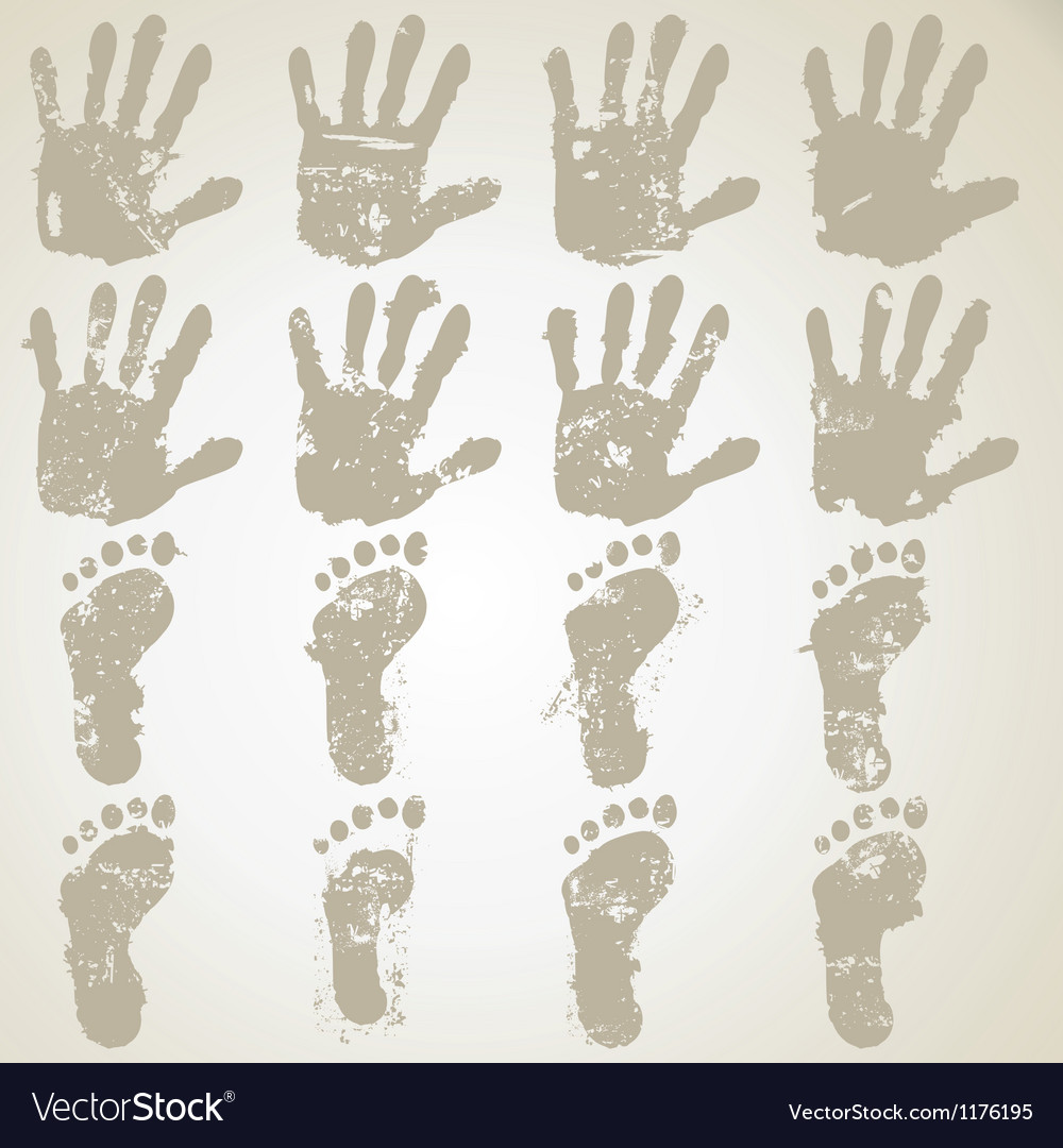 Collection hands and feet prints vector | Price: 1 Credit (USD $1)