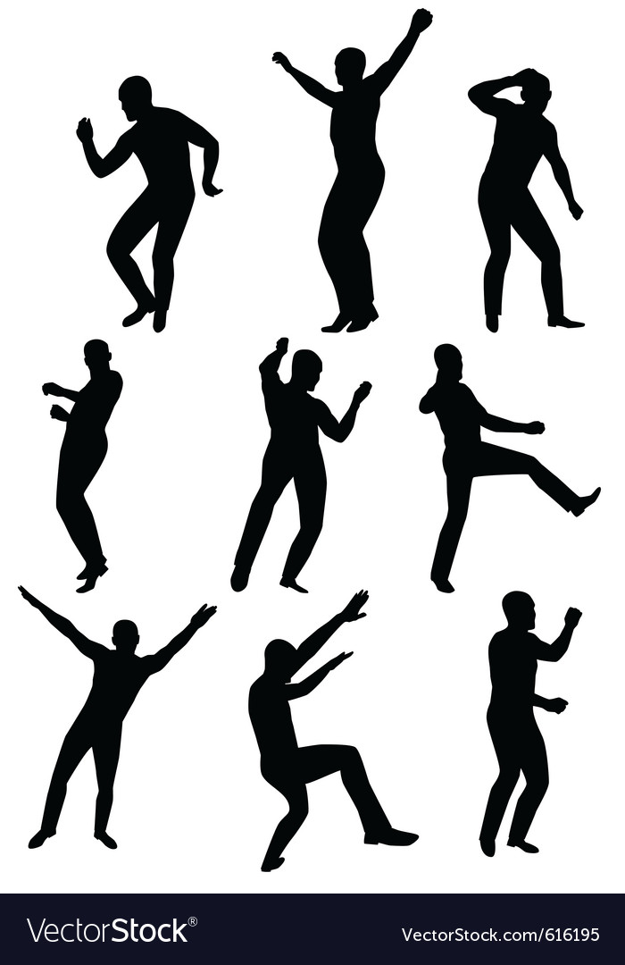 Collection of dancing young men vector | Price: 1 Credit (USD $1)