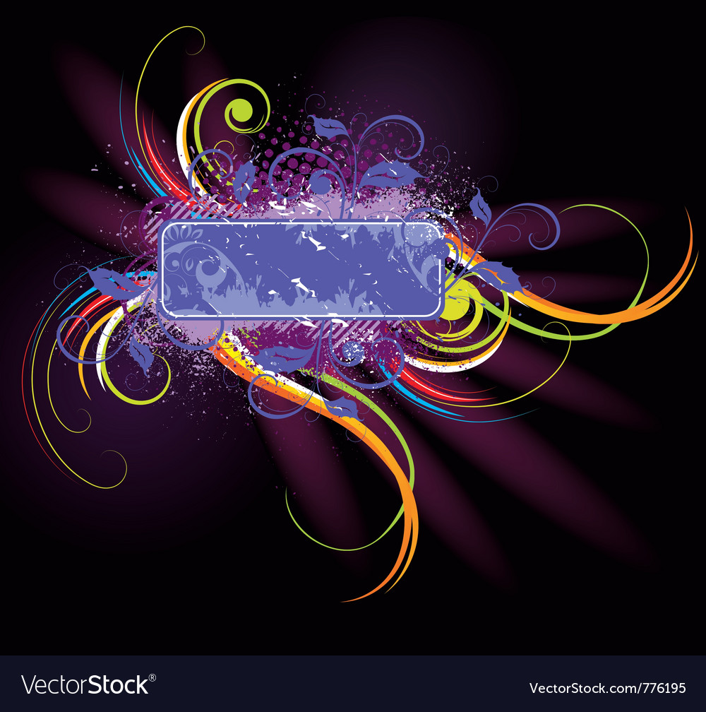 Colorful floral label vector | Price: 1 Credit (USD $1)