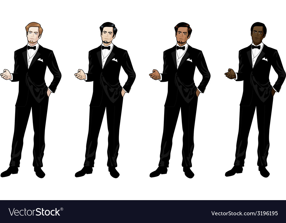 Man in black tuxedo and bow tie vector | Price: 3 Credit (USD $3)