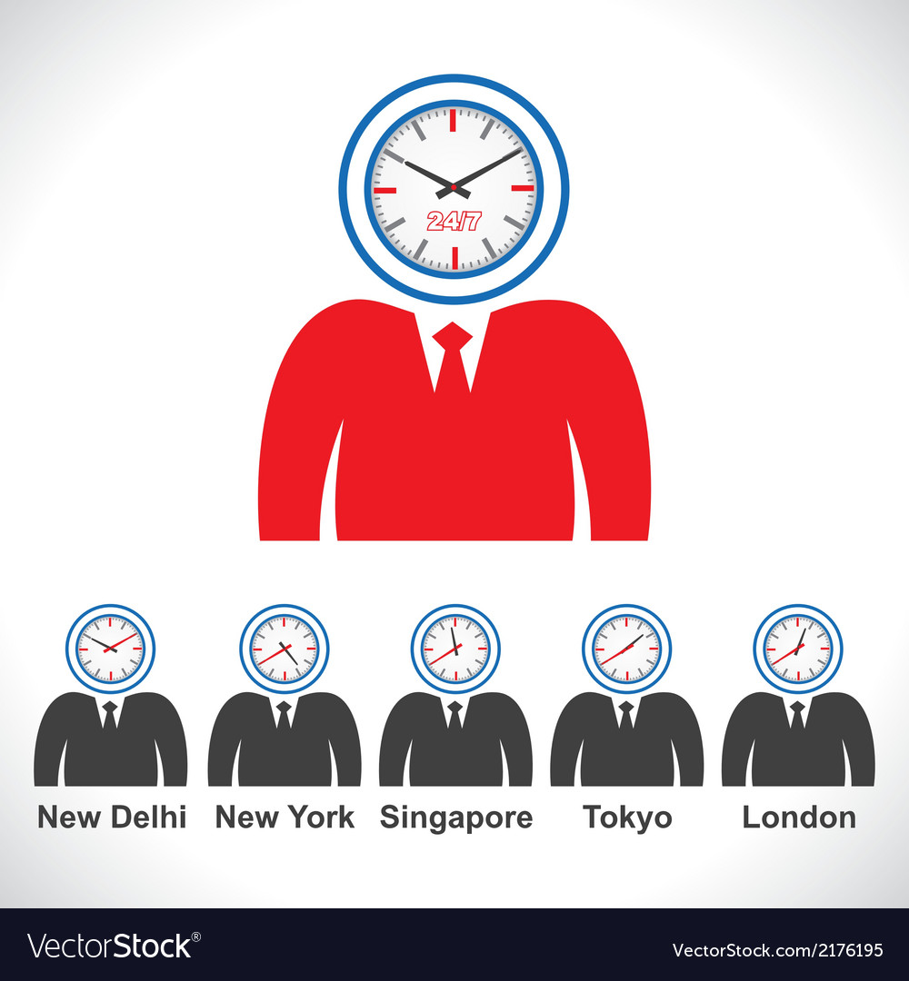Mans face showing time of different countries vector | Price: 1 Credit (USD $1)