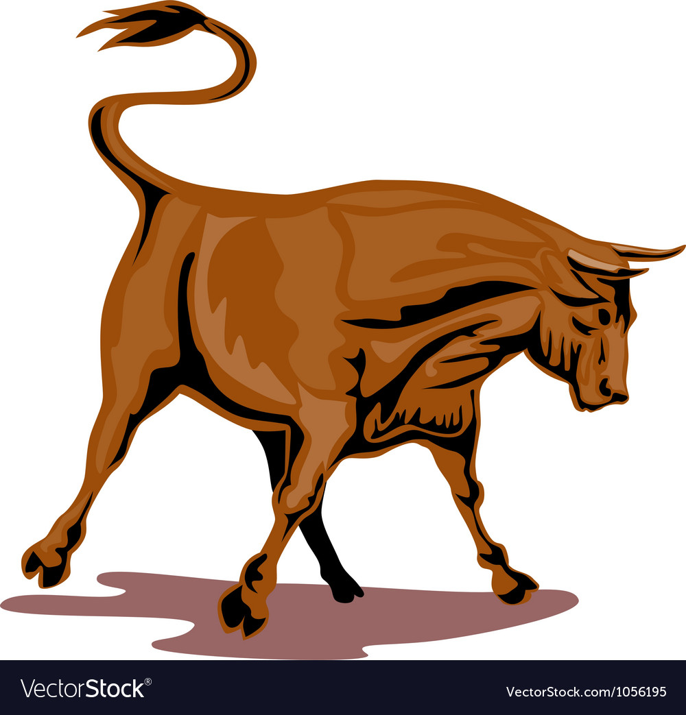 Raging bull attacking retro vector | Price: 1 Credit (USD $1)