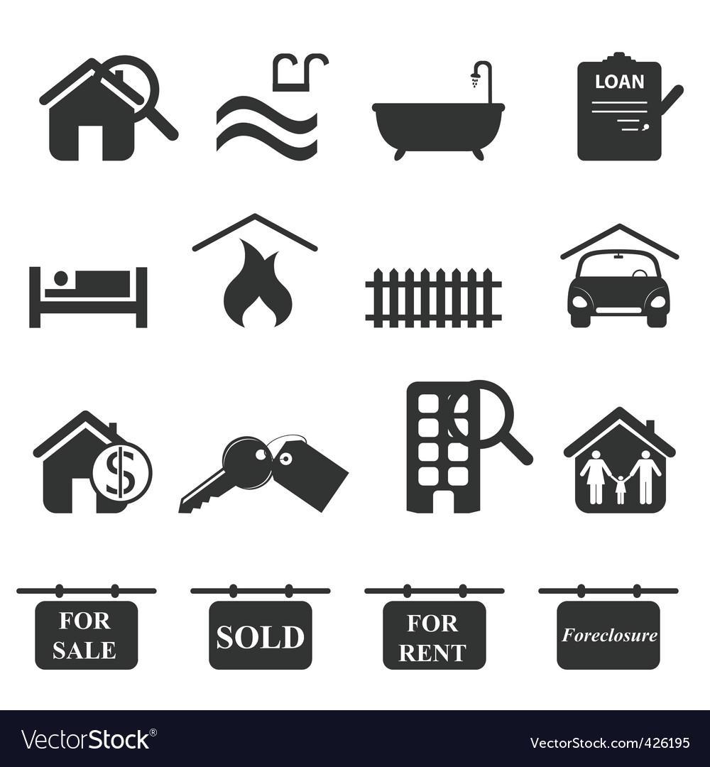 Real-estate icons vector | Price: 1 Credit (USD $1)