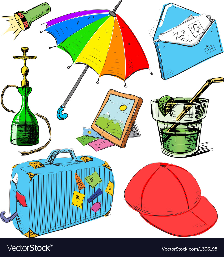 Vacation colorful set vector | Price: 3 Credit (USD $3)