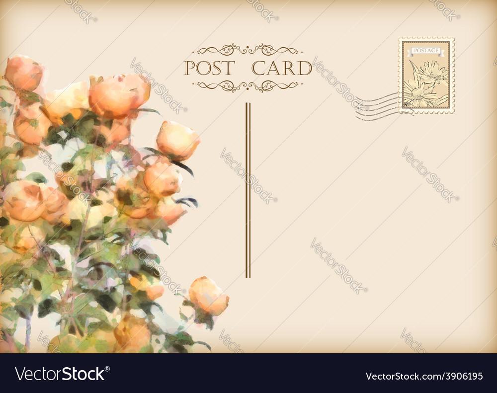 Vintage floral postcard vector | Price: 1 Credit (USD $1)