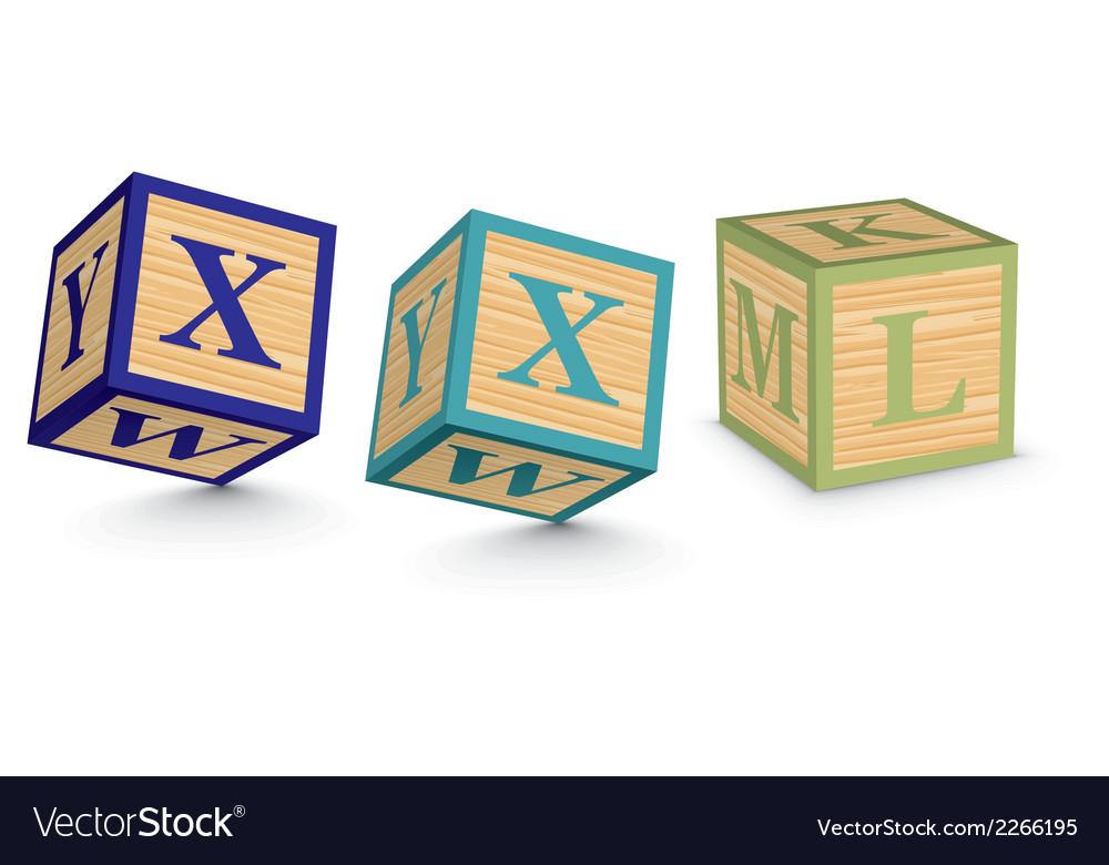 Word xxl written with alphabet blocks vector | Price: 1 Credit (USD $1)