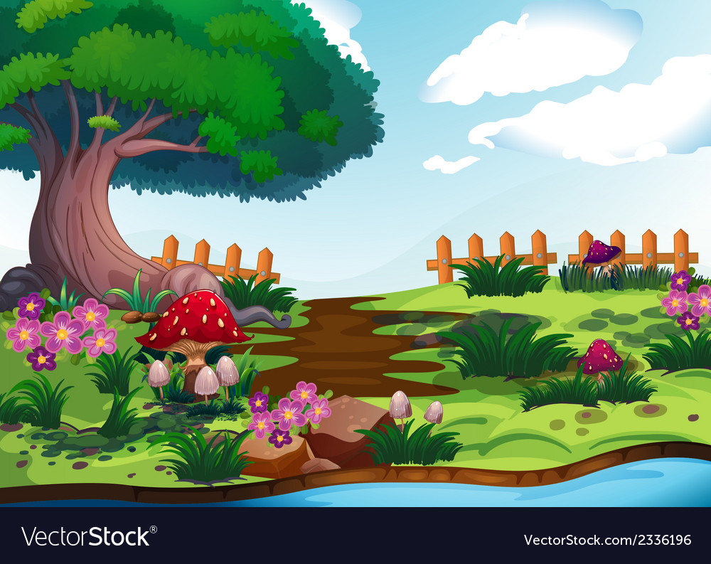 A big tree near the river vector | Price: 3 Credit (USD $3)