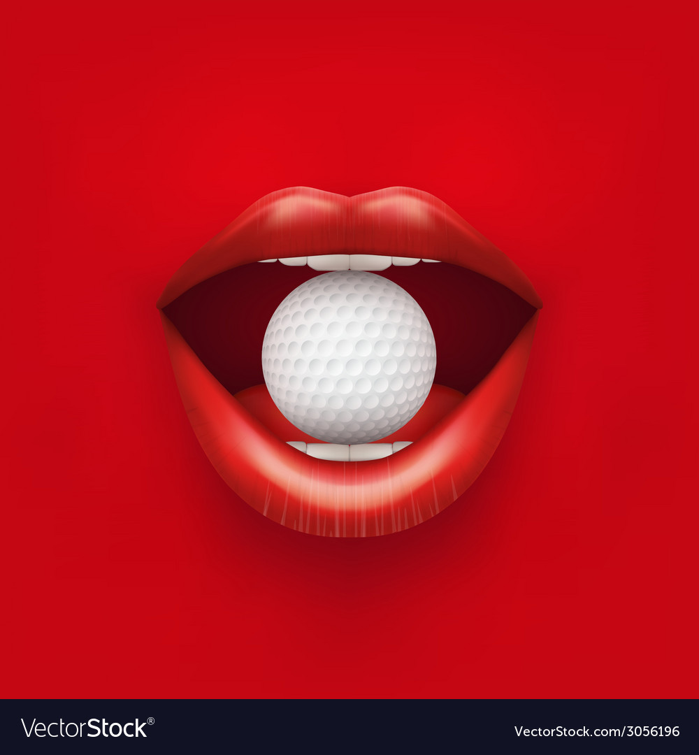 Background of womans open mouth with golf ball in vector | Price: 1 Credit (USD $1)