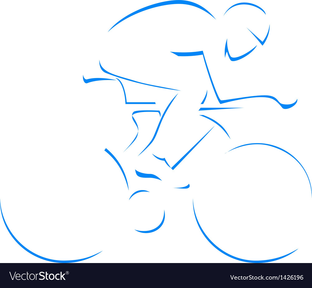 Blue silhouette cyclist vector | Price: 1 Credit (USD $1)