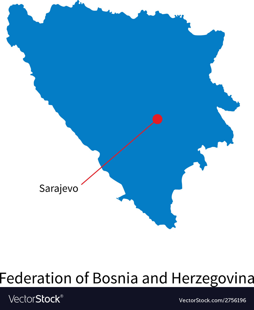 Detailed map of federation of bosnia and vector | Price: 1 Credit (USD $1)