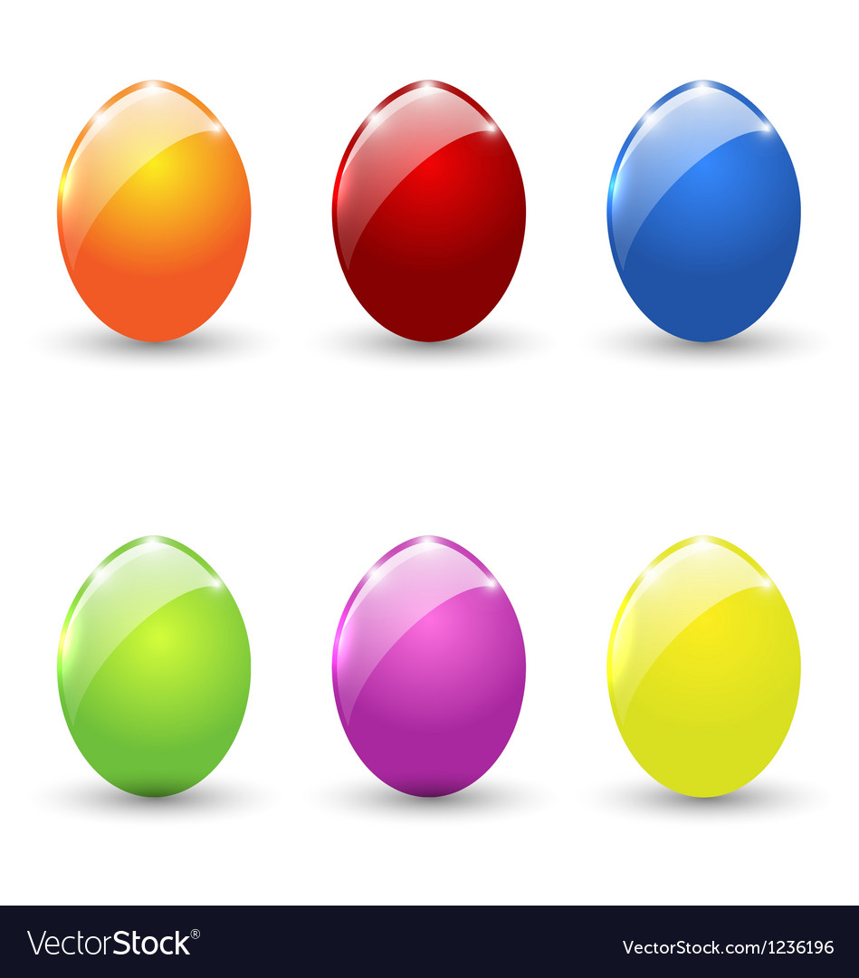 Easter set colorful eggs isolated vector | Price: 1 Credit (USD $1)