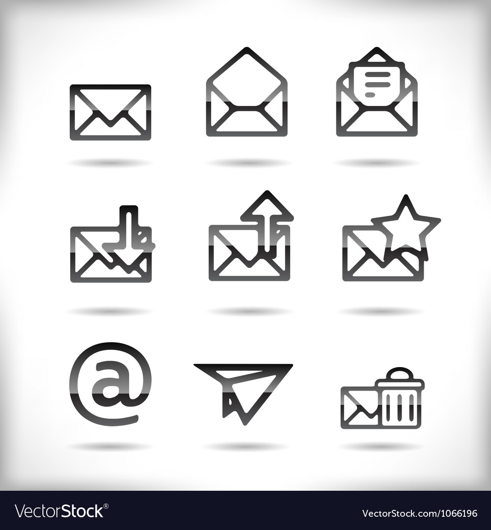 Email icon set vector | Price: 1 Credit (USD $1)
