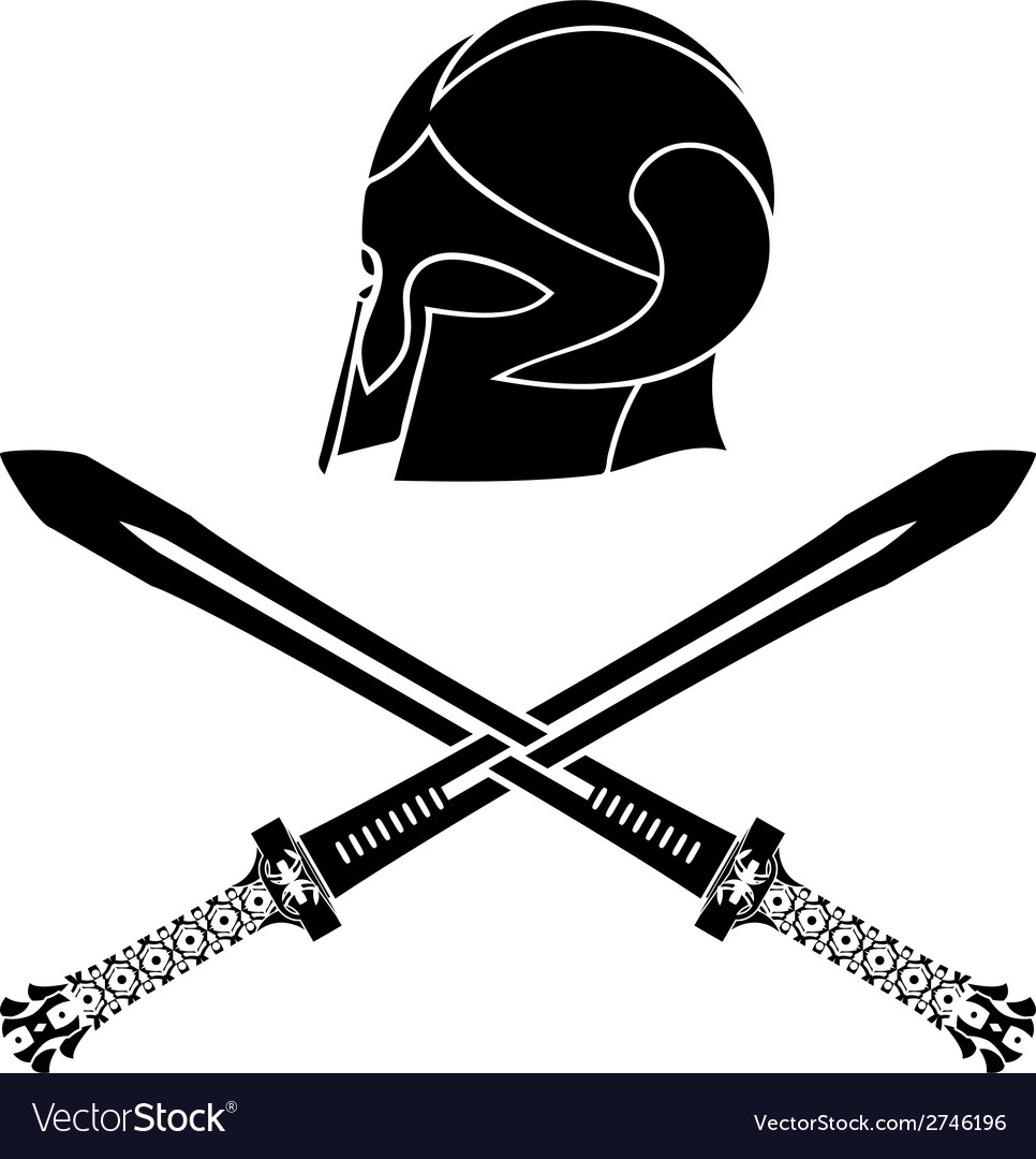 Fantasy barbarian helmet with swords vector | Price: 1 Credit (USD $1)