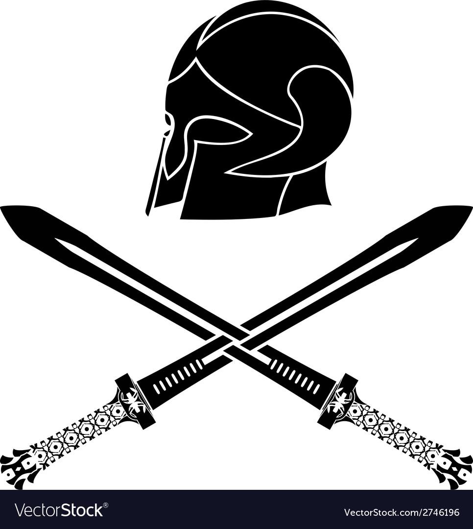 Fantasy barbarian helmet with swords vector | Price: 1 Credit (USD $1)