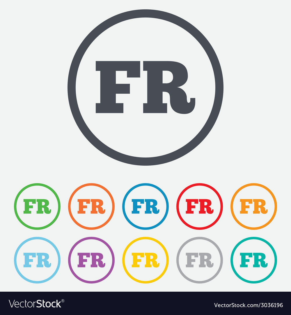 French language sign icon fr translation vector | Price: 1 Credit (USD $1)