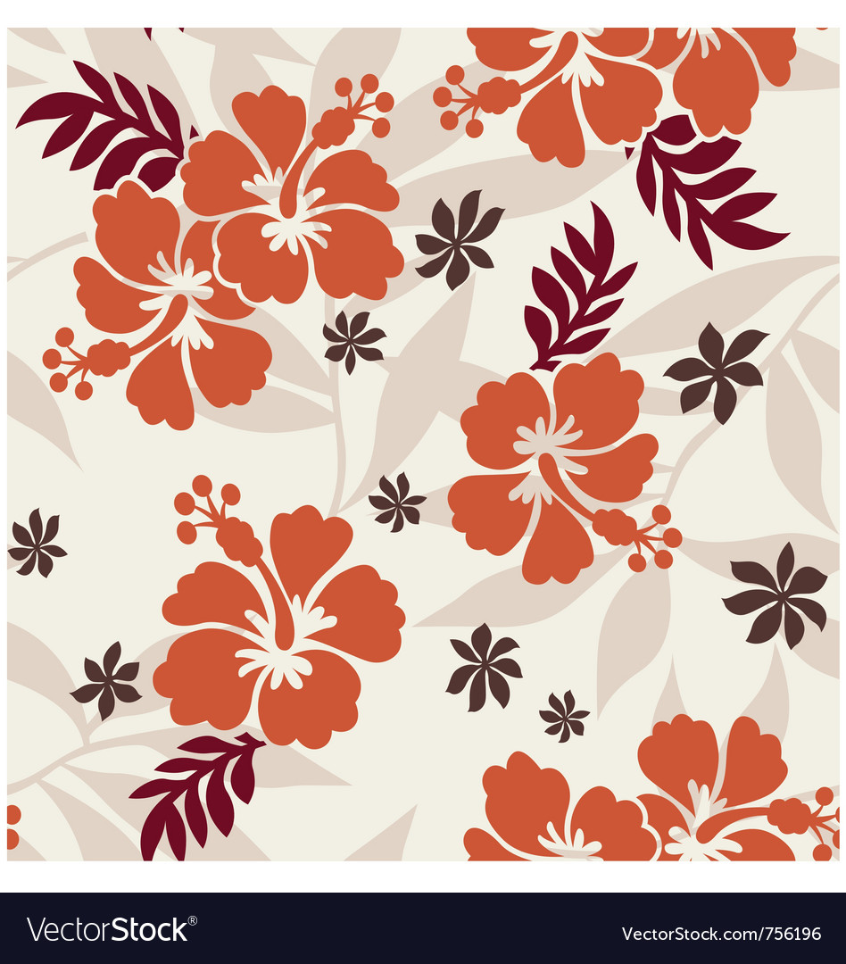 Hibiscus seamless flower pattern vector | Price: 1 Credit (USD $1)