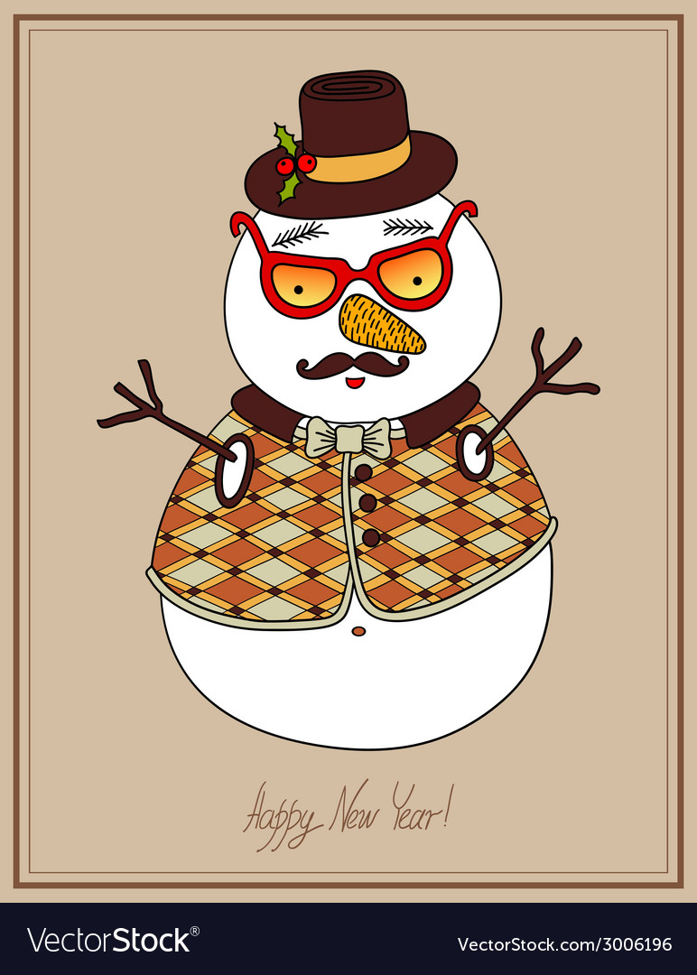 Original hipster snowman in sunglasses hat vector | Price: 1 Credit (USD $1)