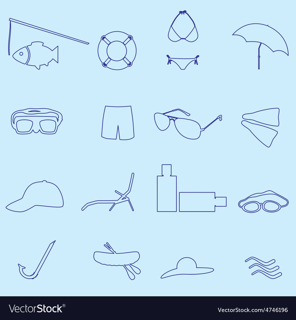 Summer and beach blue outline icons set eps10 vector | Price: 1 Credit (USD $1)