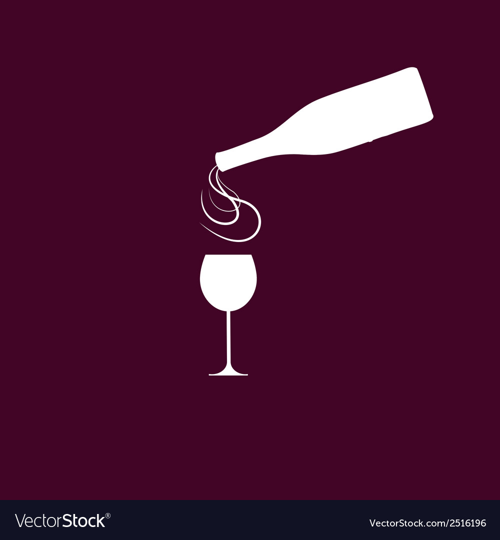 Wine bottle with wineglass and sparkles vector | Price: 1 Credit (USD $1)