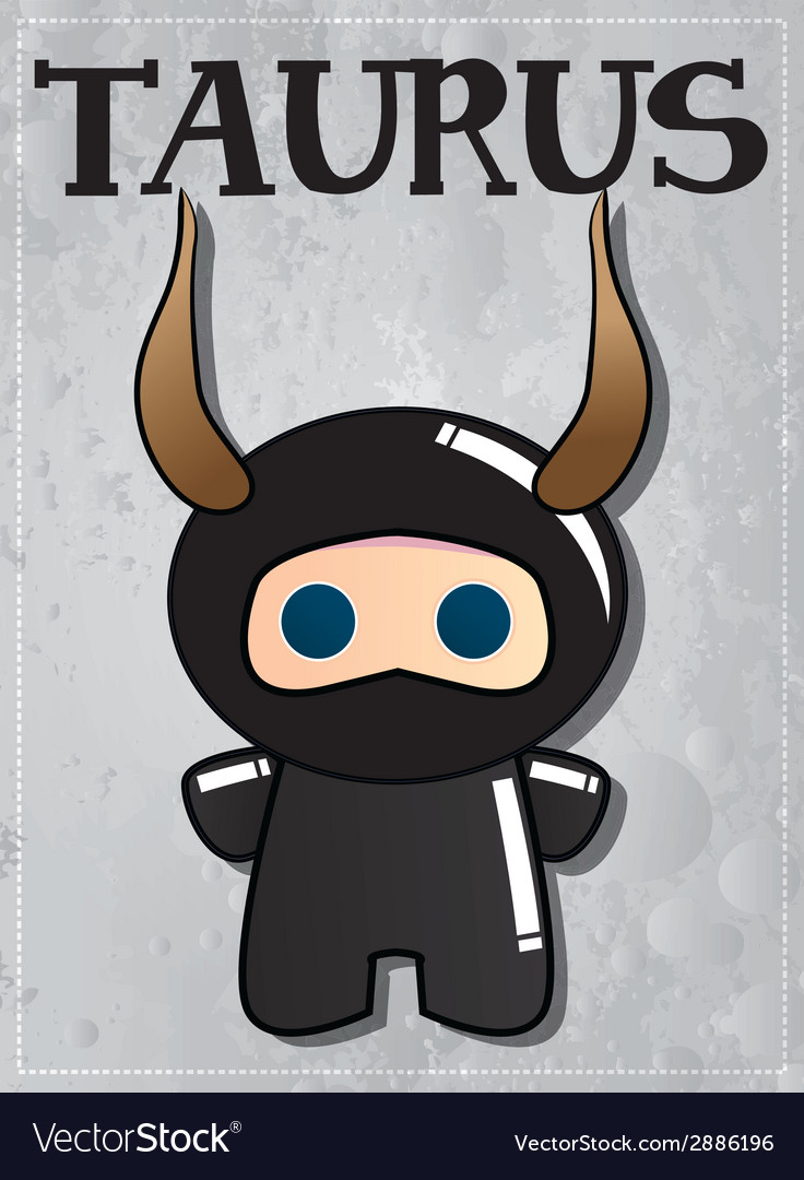 Zodiac sign taurus with cute black ninja character vector | Price: 1 Credit (USD $1)