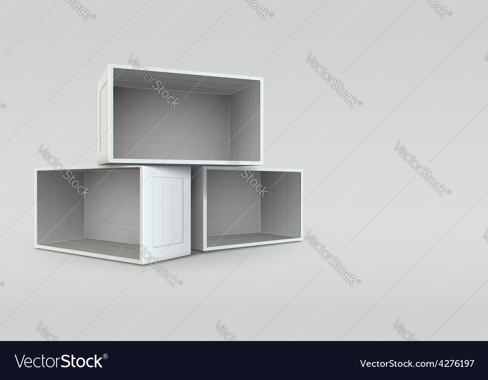 Empty open boxes vector | Price: 3 Credit (USD $3)
