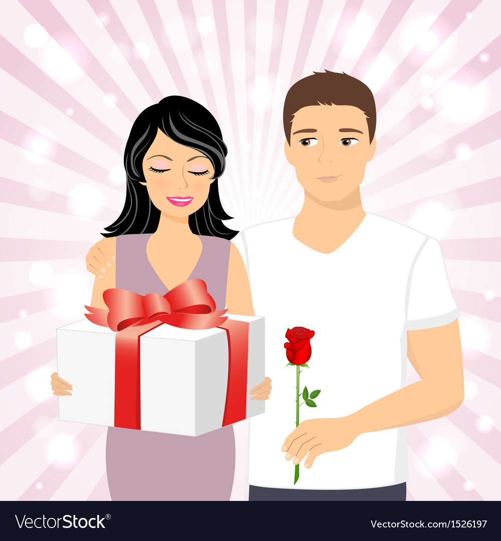 Man giving gift to girl vector | Price: 1 Credit (USD $1)