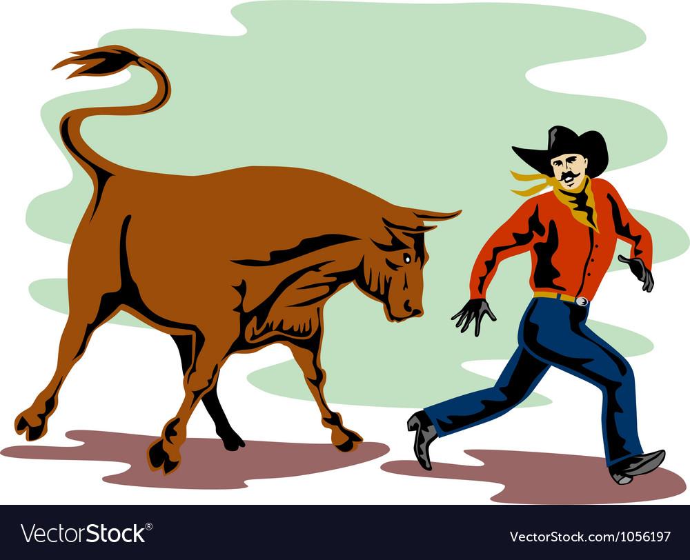 Raging bull attacking retro vector | Price: 1 Credit (USD $1)