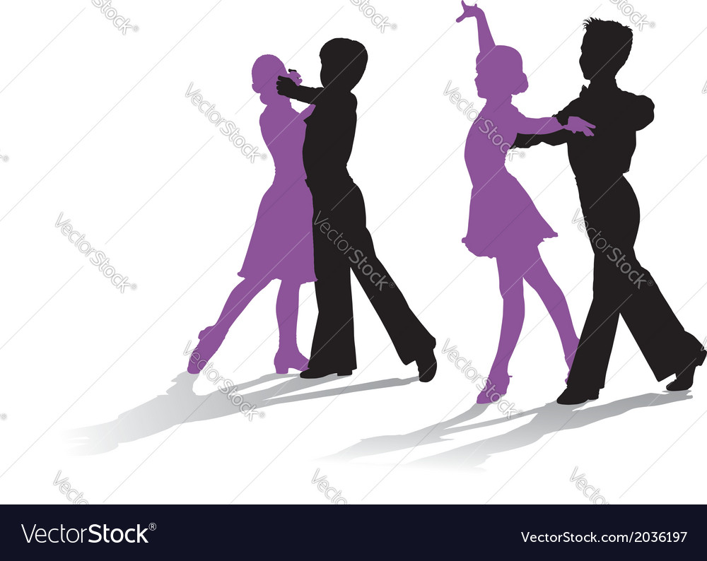 Silhouettes of kids dancing ballroom dance vector | Price: 1 Credit (USD $1)