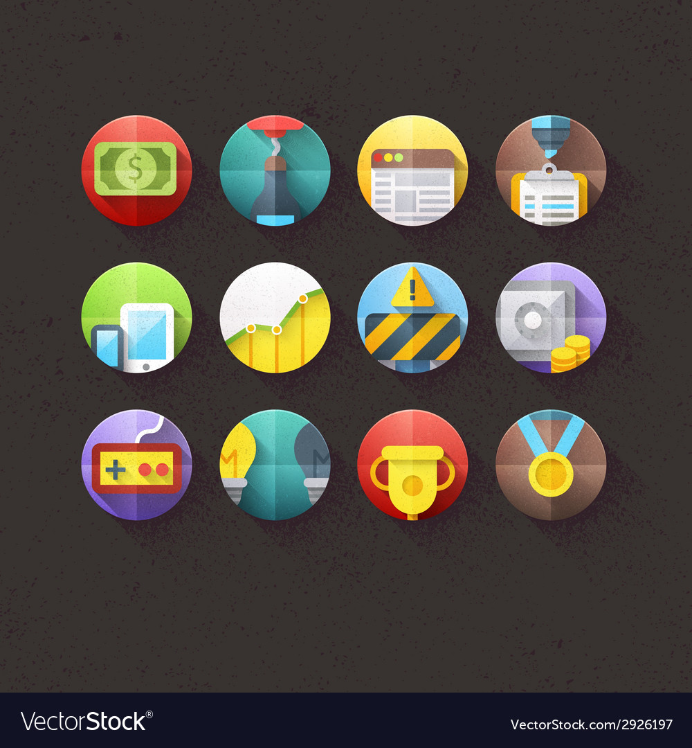 Textured flat icons for mobile and web set 2 vector | Price: 1 Credit (USD $1)