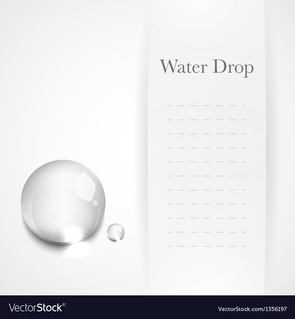 Transparent water drop on light gray background vector | Price: 1 Credit (USD $1)