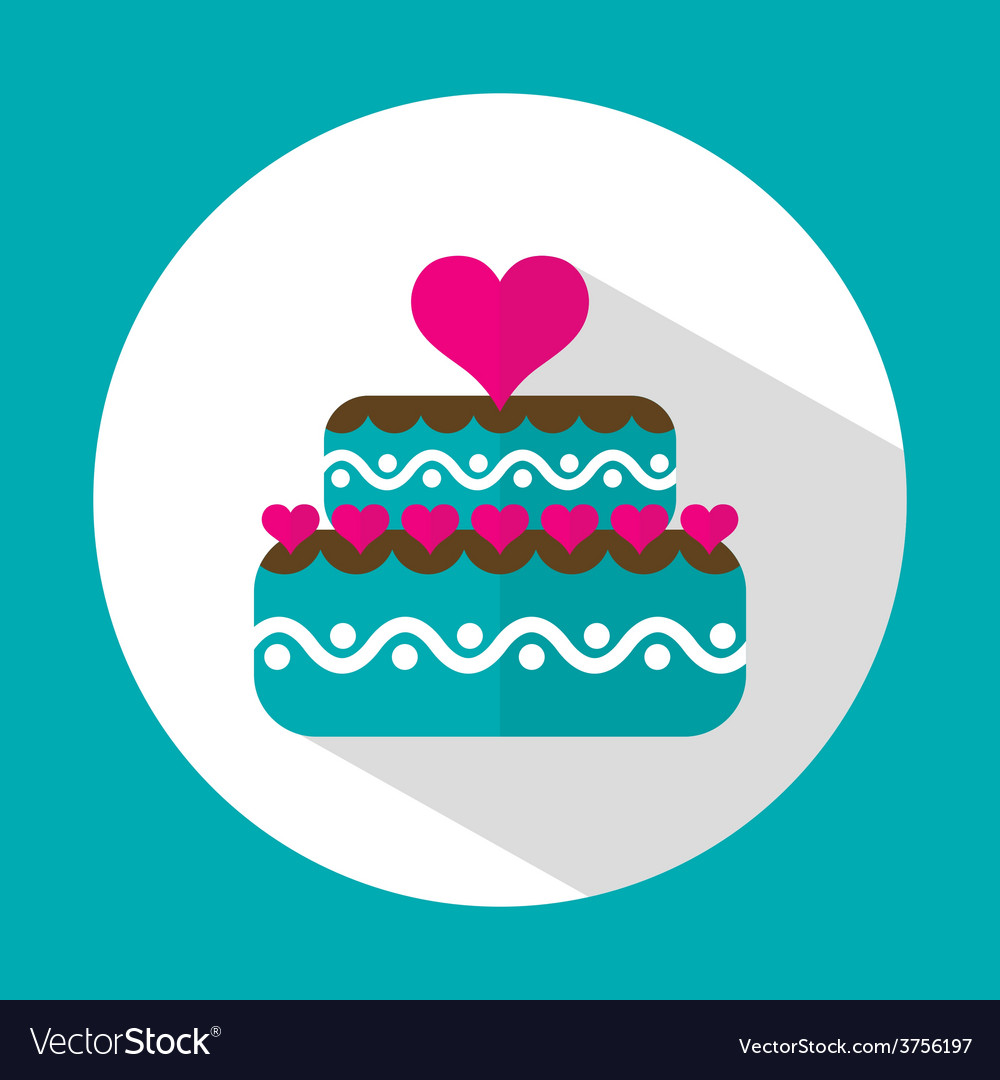 Valentine cake flat icon with long shadow vector | Price: 1 Credit (USD $1)