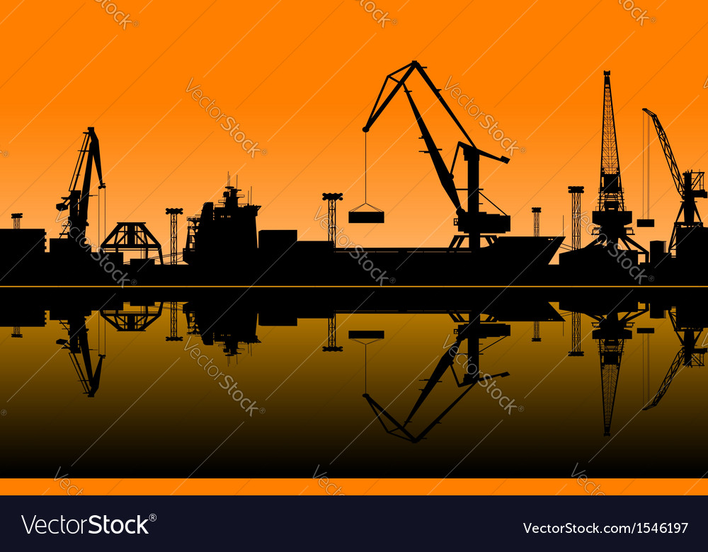 Working cranes in sea port vector | Price: 1 Credit (USD $1)
