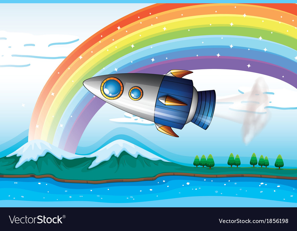 A spaceship near the rainbow above the ocean vector | Price: 3 Credit (USD $3)