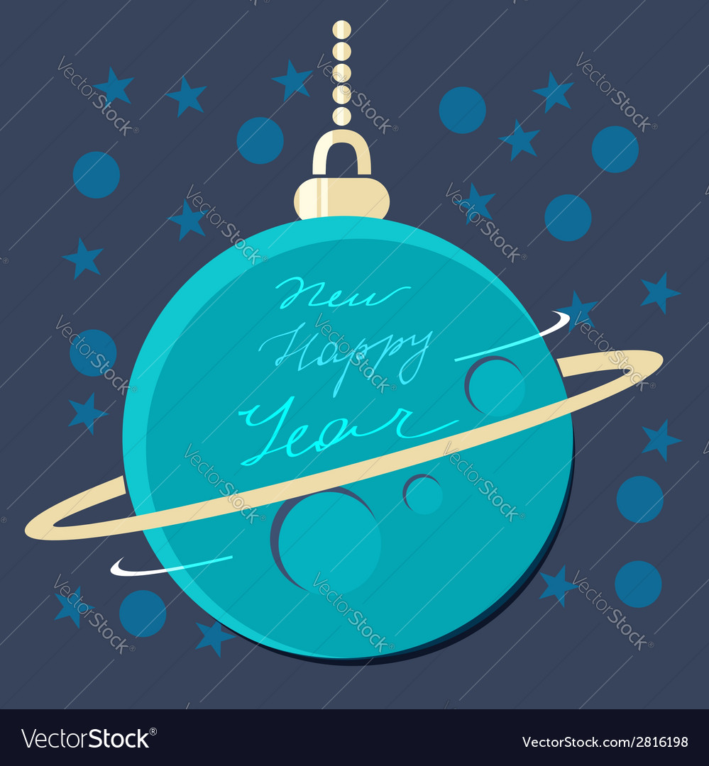 Christmas planet bauble with new year greeting vector | Price: 1 Credit (USD $1)