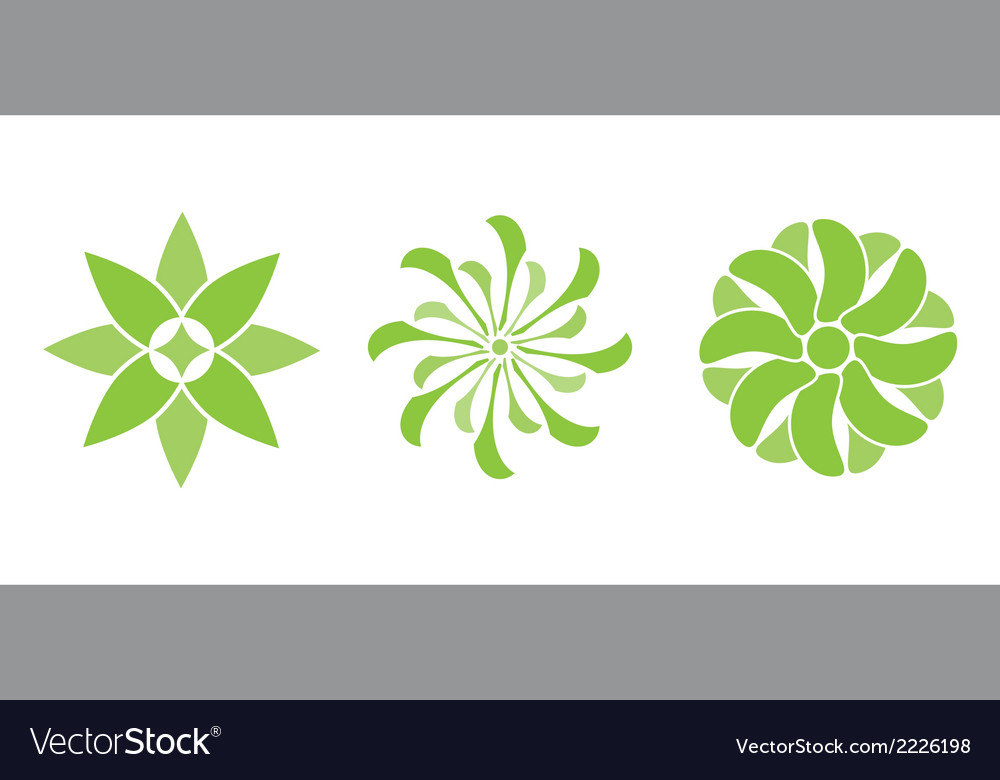 Color flowers green vector | Price: 1 Credit (USD $1)