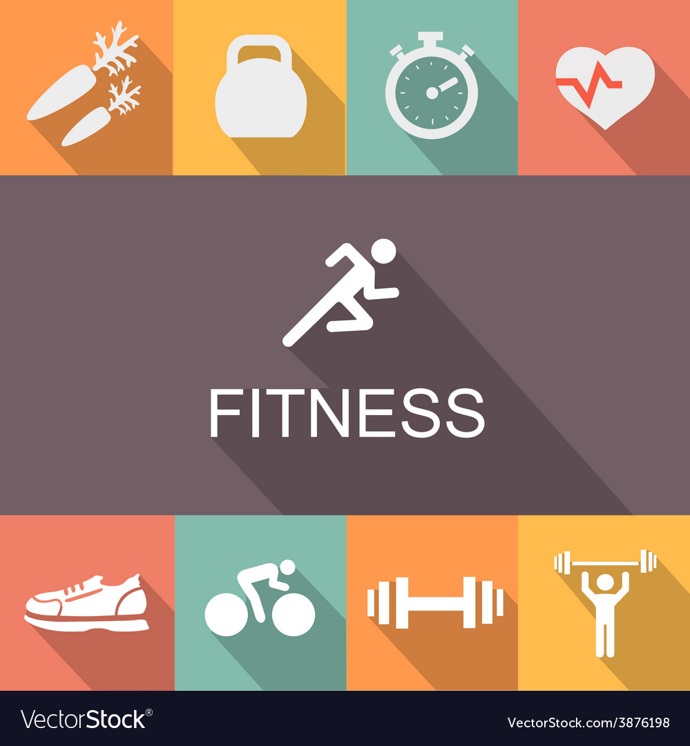Fitness background in flat style vector | Price: 1 Credit (USD $1)
