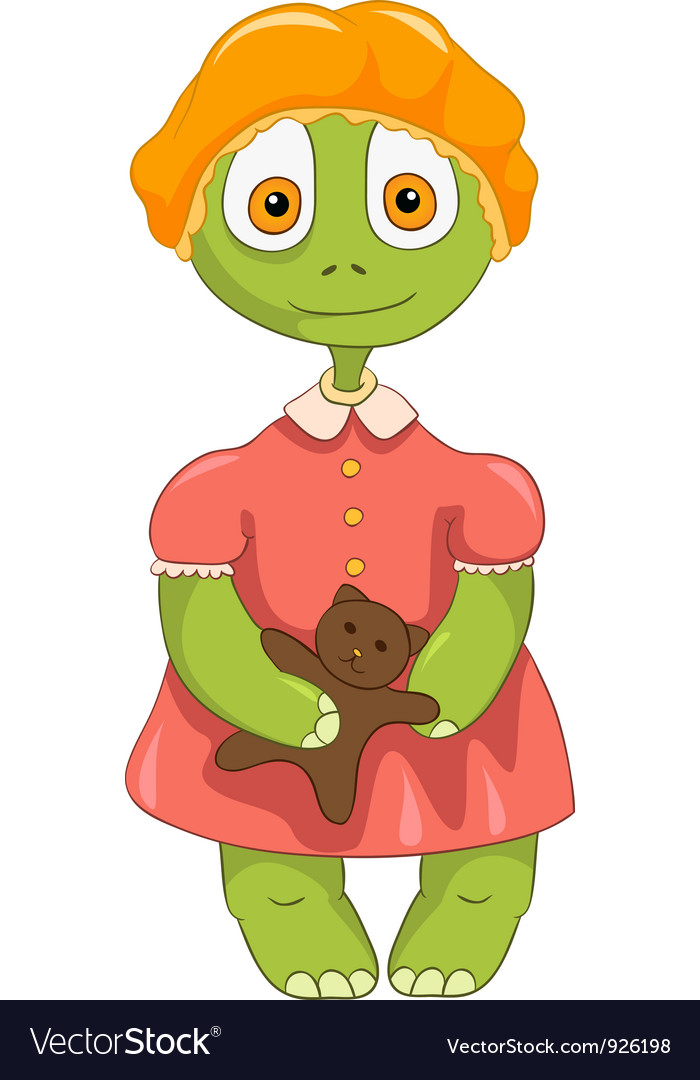 Funny turtle baby girl vector   Price: 3 Credit (USD $3)