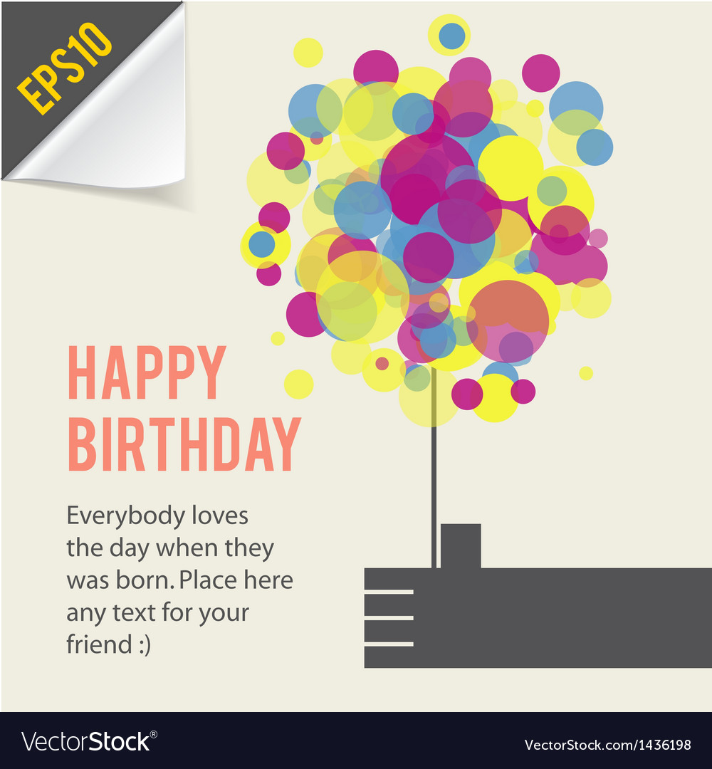 Happy birthday card template retro style vector | Price: 1 Credit (USD $1)