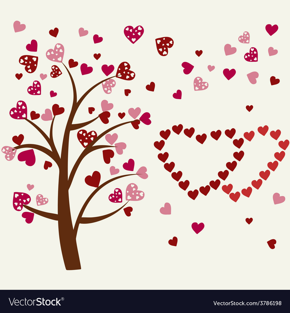Hearts tree romantic tree vector | Price: 1 Credit (USD $1)