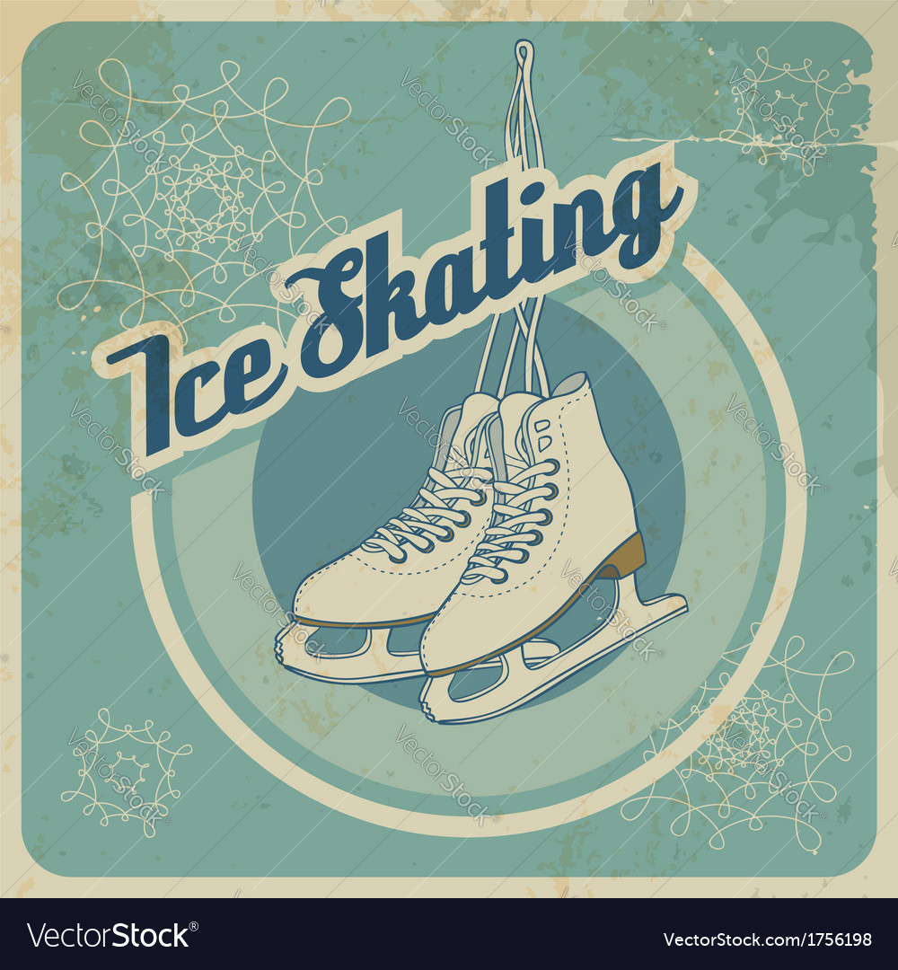 Ice skating retro card vector | Price: 1 Credit (USD $1)