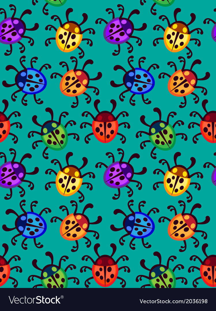Ladybug seamless pattern vector | Price: 1 Credit (USD $1)