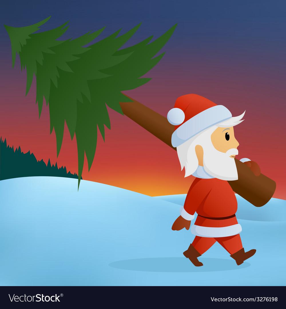 Santa carry pine vector | Price: 1 Credit (USD $1)
