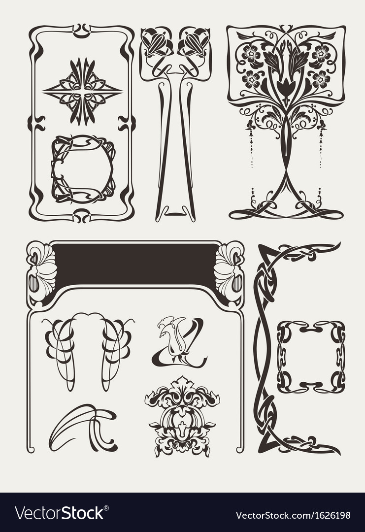 Set of art deco elements vector | Price: 1 Credit (USD $1)