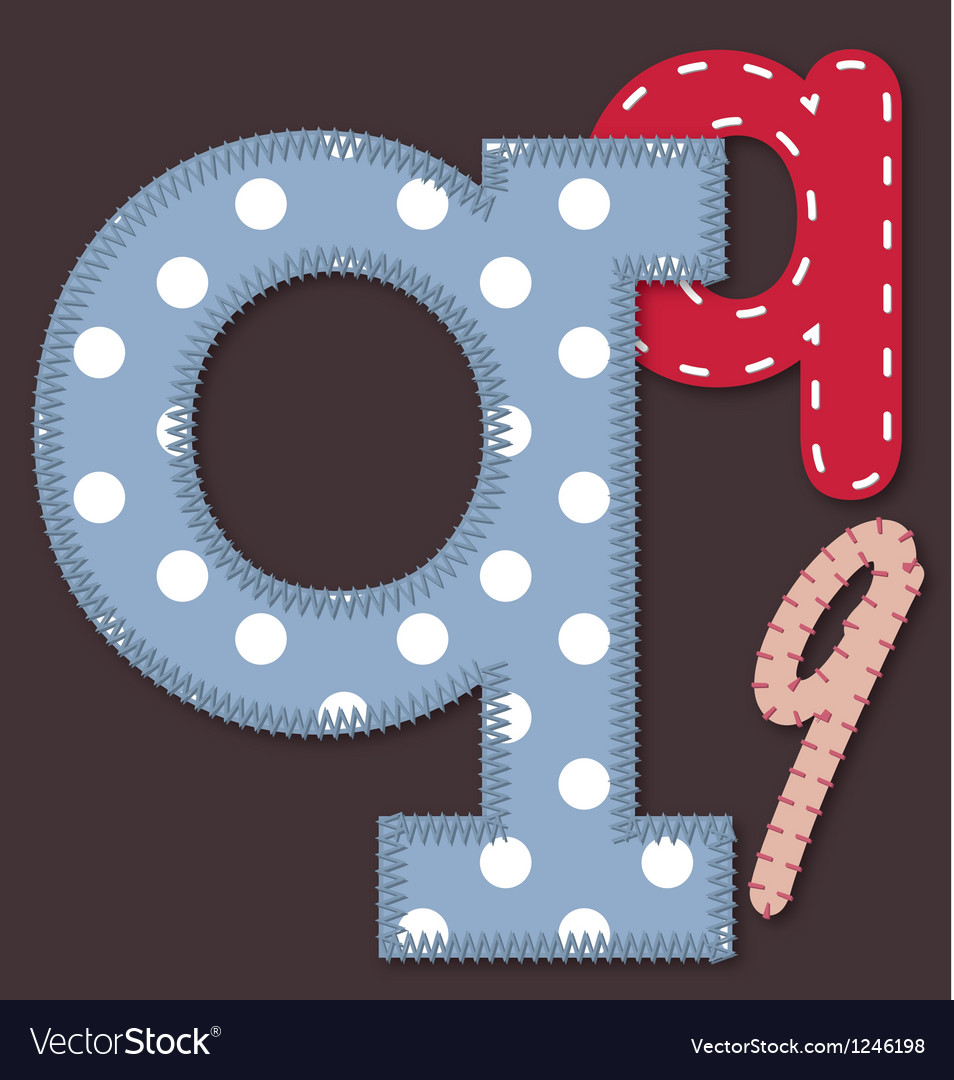 Set of stitched font - letter q vector | Price: 1 Credit (USD $1)