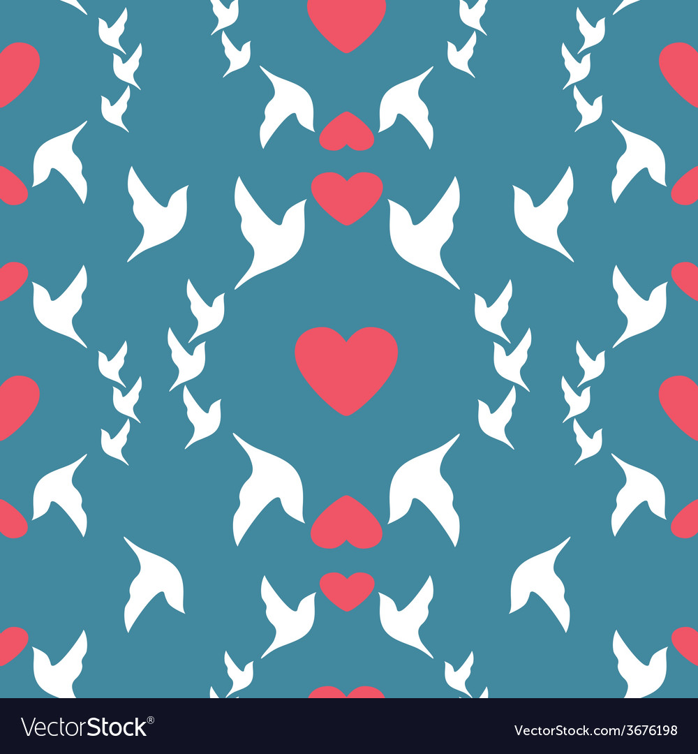 Wedding seamless pattern doves and hearts vector | Price: 1 Credit (USD $1)