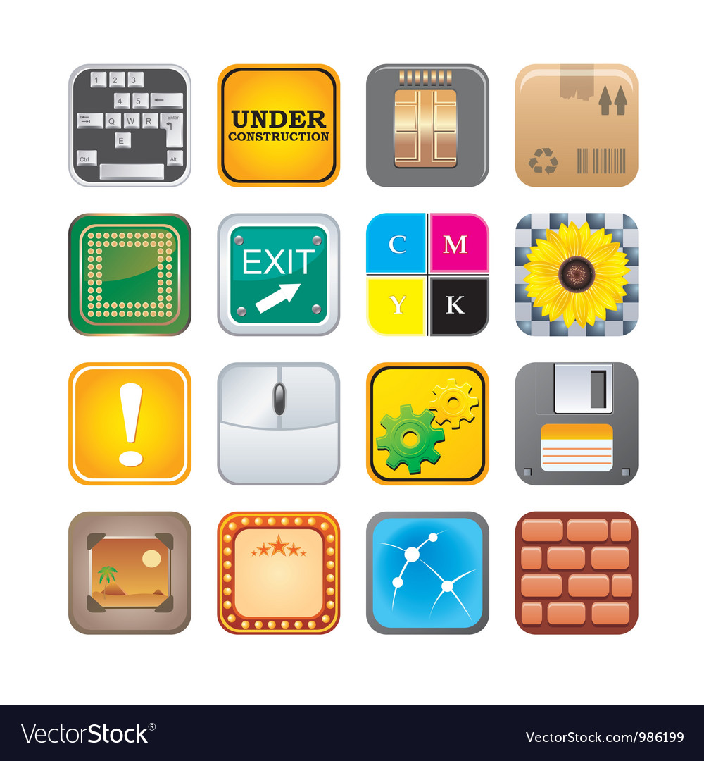 Apps icon set five vector | Price: 3 Credit (USD $3)