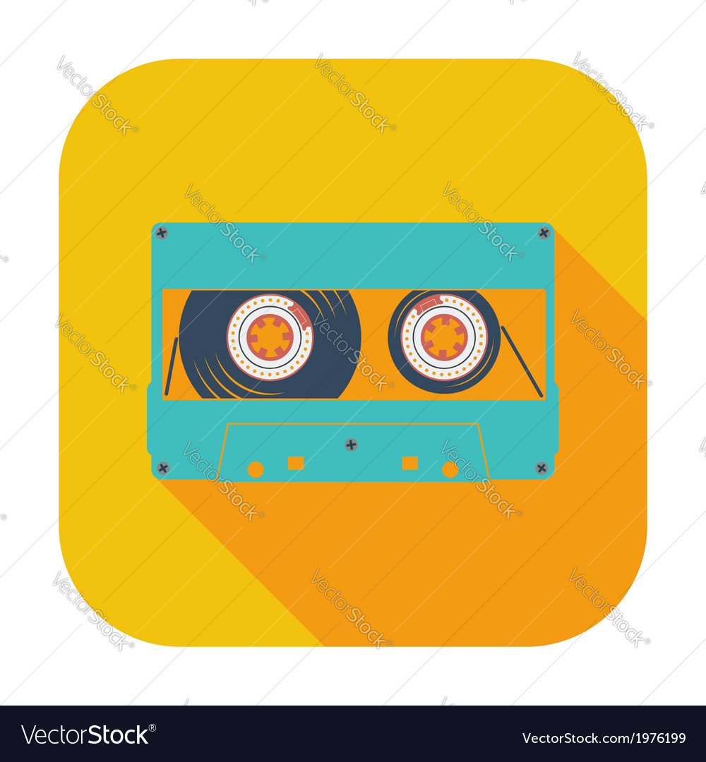 Audiocassette single icon vector | Price: 1 Credit (USD $1)